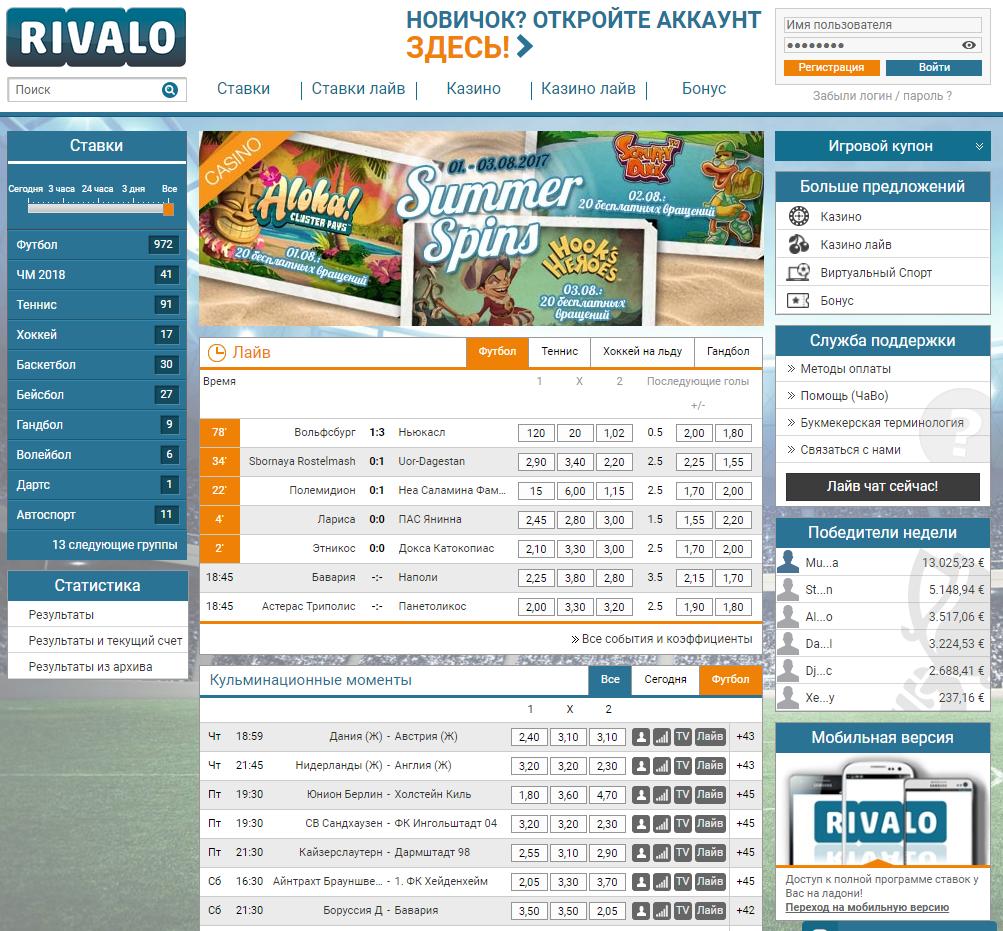 Сайт букмекерской конторы Ривало